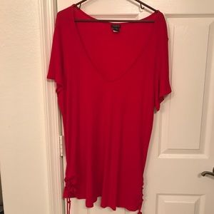 Torrid Red long length tee shirt with tied sides